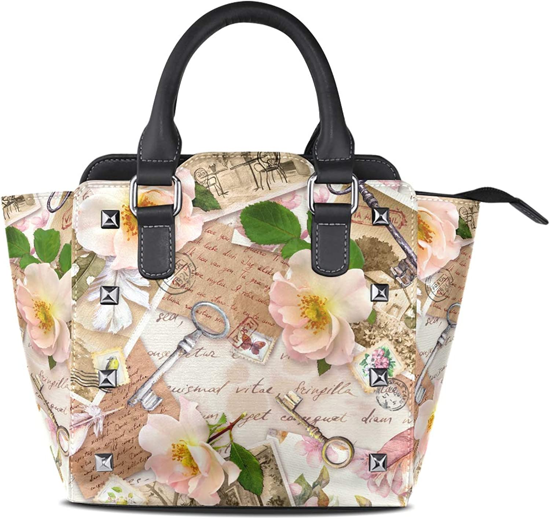 My Little Nest Women's Top Handle Satchel Handbag Watercolor Stamps Keys pink Flowers Ladies PU Leather Shoulder Bag Crossbody Bag