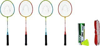 Bipan's Phoenix Badminton Racket Combo Set with Nylon Shuttlecock (Pack of 6) and Badminton net