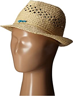 Paper Fedora Hat with Open Weave and Turquoise Trim (Little Kids/Big Kids)