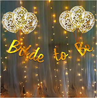 Party Propz Bride To Be Decoration Kit Set - 10Pcs With Bride To Be Banner, Confetti Balloon and Led Fairy Light/Bridal Sh...