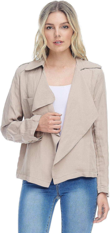 AD Womens Casual Open Front Linen Drape Blazer Jacket W Flare Bk