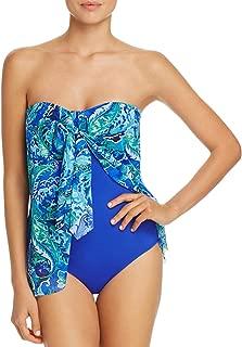 Ralph Lauren Flyaway One-Piece Bandeau Swimsuit, Blue, 6