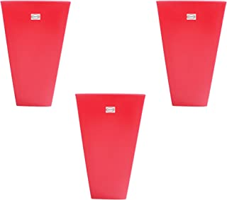 Pepper Agro Lobby Fibre 16 Inch Width, 2.4 Feet Height Square Red Decorative Planter (Set of 3)