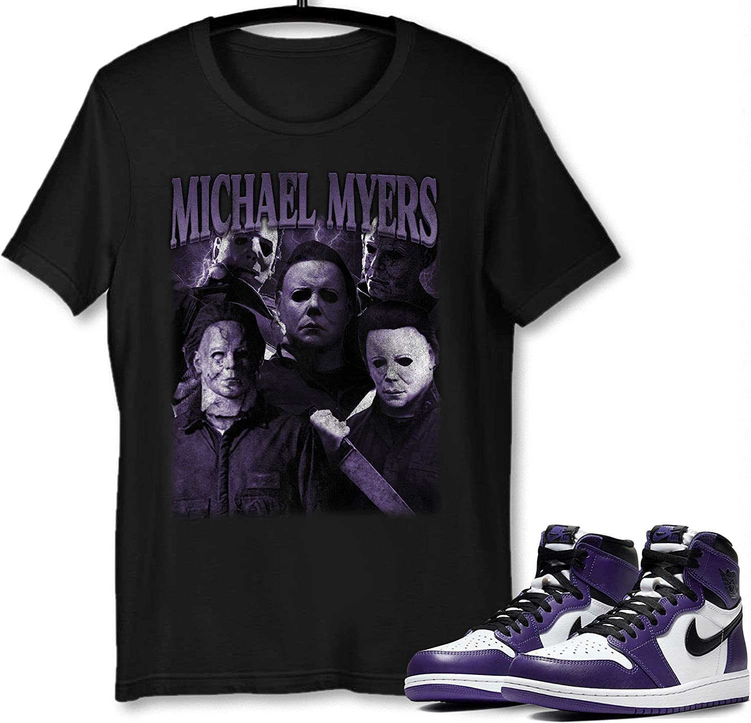 Popular popular Inventory cleanup selling sale #Michael #Myer T-Shirt to Match Jordan 1 Purple Court Sneaker Sn