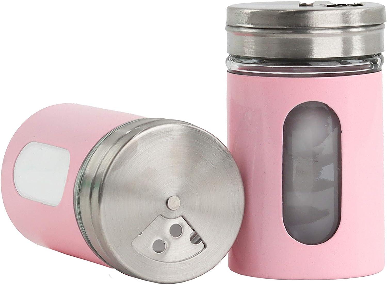 Light Pink Salt Sales Ranking TOP13 for sale Pepper Shakers Retro Spice Jars 2 of Set Glass -