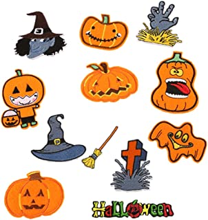 Hwafan Mix 12PCS Halloween Pumpkin Decal Fabric Iron On Sew On Patches Embroidered Motif Badge DIY Decoration Applique for Jeans Clothes