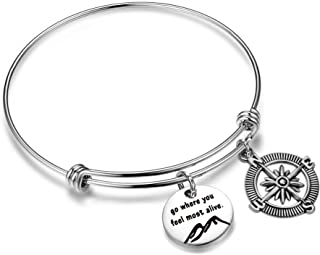 Go Where You Feel Most Alive Mountain Bracelet Adventure Jewelry Nature Lover Traveler Gift
