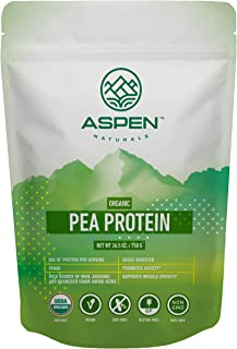 Aspen Naturals Organic Pea Protein - 26.5 oz. Unflavored, Plant Based, Gluten Free, Non-GMO Vegan Protein Powder. Supports...