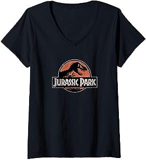 Femme Jurassic Park Classic Retro Red & Black Speckled Logo T-Shirt avec Col en V