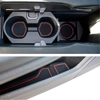 Custom Fit Cup, Door and Center Console Liner Accessories for Honda Civic 2020 2019 2018 2017 2016 14-pc Set (Front Seat, Red Trim)