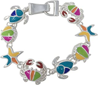 Gypsy Jewels Colorful Silver Tone Themed Linked Magnetic Clasp Bracelet