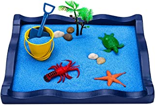 FORYULIK Wooden Sandbox Creative Marine Animal Sandbox, The Ocean Sea at Your Desktop, Relaxation Relieve Stress, Beach Play Sand Box Toy for Kids, Boys and Girls