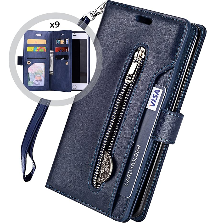 iPhone 6S Wallet Case with Strap for Women/Men,Auker iPhone 6 Trifold 9 Card Holder Folio Flip Leather Zipper Purse Case with Vintage Book Fold Kickstand Feature,Hidden Wallet&Money Pocket Blue