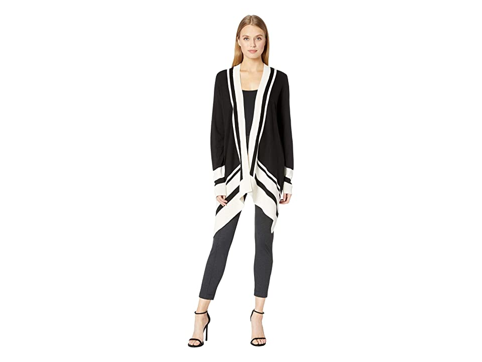 Anne Klein Long Sleeve Color Blocked Open Cardigan with Pointelle Trim (Anne Black/Anne White) Women
