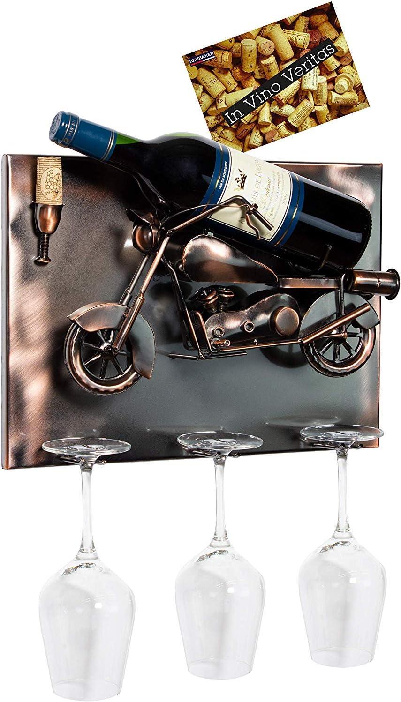 BRUBAKER Wine Bottle Holder 'Motorbike' Mountable メーカー再生品 with Wall - 3 売り出し