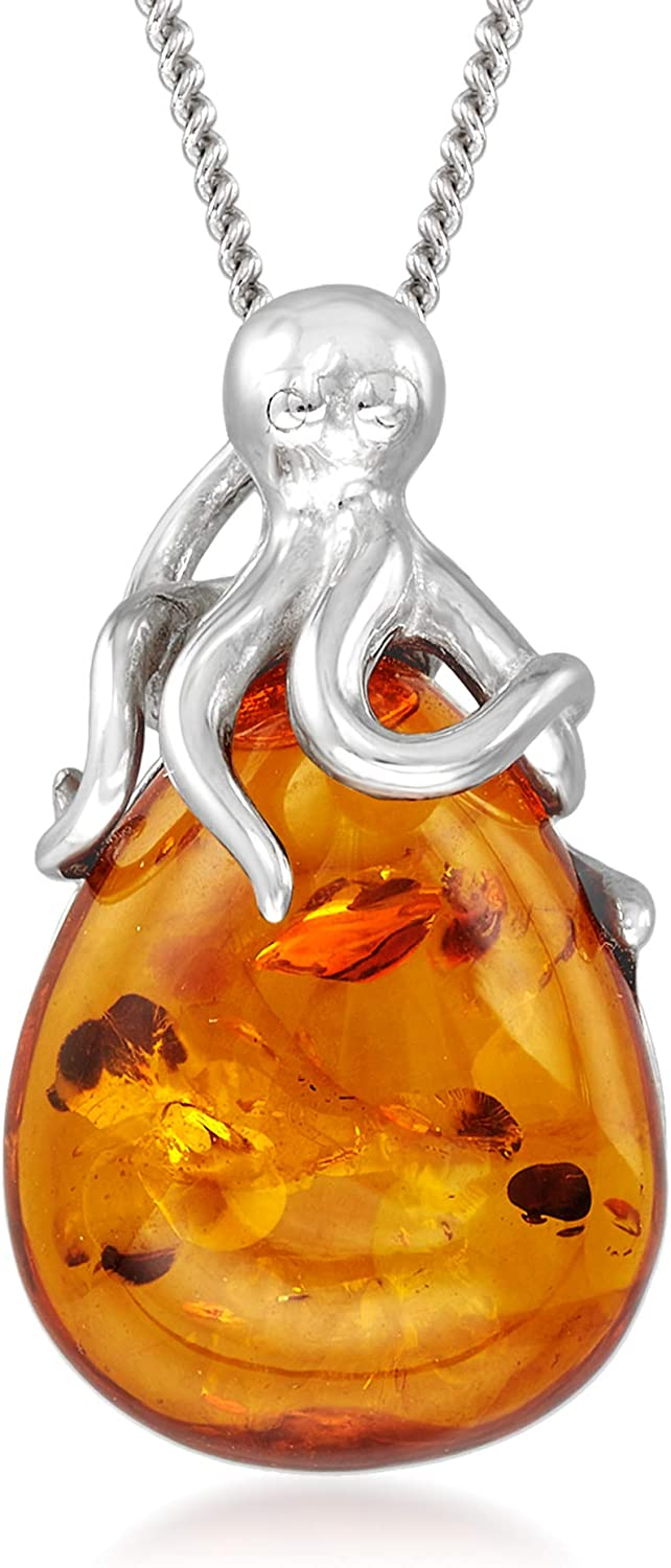Ross-Simons Amber Octopus Pendant Necklace 1 sold out Silver. Today's only in Sterling