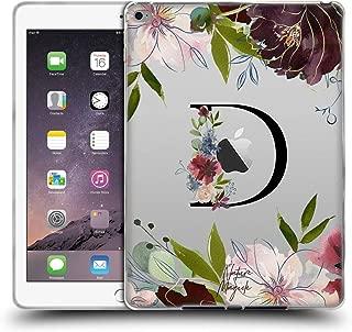 Official Nature Magick Letter D Floral Black Monogram 1 Soft Gel Case Compatible for iPad Air 2 (2014)