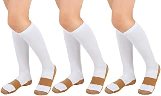 Copper Compression Socks (3 Pair) For Men Women 10-20 mmhg below Knee Over the Calf For Sports Medical Travel