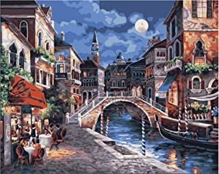 OILPHL Paint by Numbers Oil Painting Gift DIY Venice Town River Moon Night View for Adults Children Beginners 40X50Cm No Frame