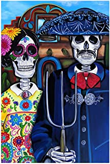 Mex Am Gothic by Melody Smith American Day of The Dead Sugar Skull Art Print