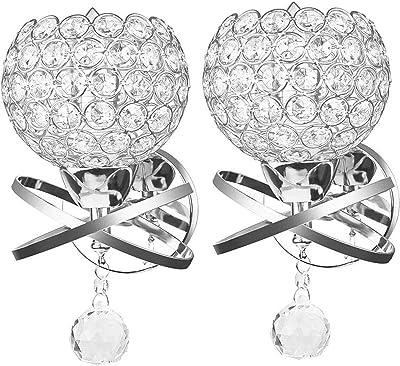 Lampes murales en cristal, ONEVER Lampadaire mural décoratif style moderne pour décoration bricolage avec ampoule E14 inclus comme cadeau (argent) (Pack of 2X)