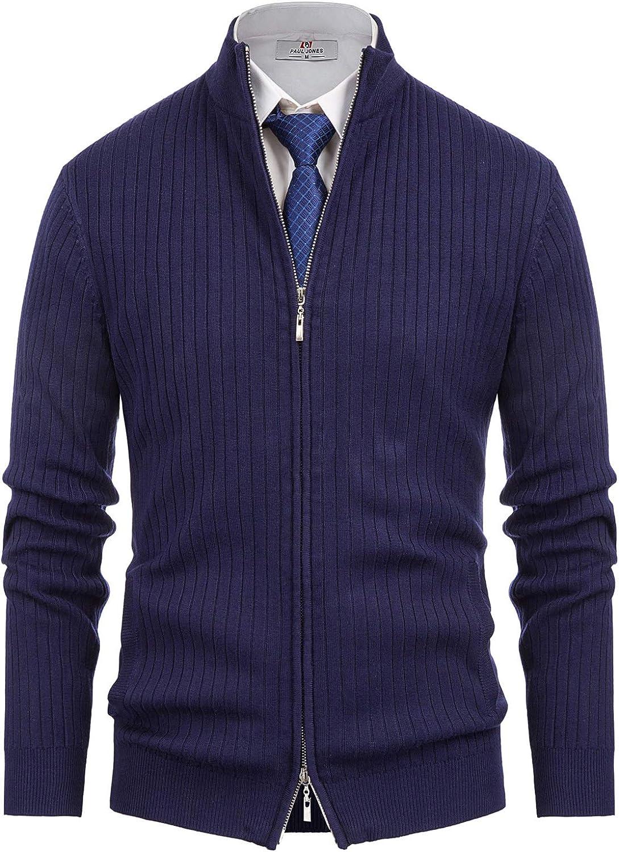 PJ PAUL JONES Mens Casual 2021 model free shipping 2-way Stand Cardingan Coll Zip Sweater