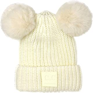C.C CC Winter Cute 2Pom Pom Ears 2tone Soft Warm Thick Chunky Knit Beanie Hat Black
