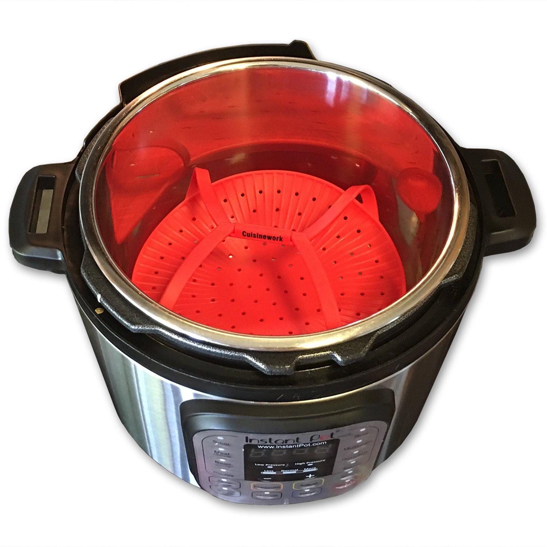 Red Cuisinework kitchen Helper of Silicone EasyVeggie Steamer for Vegetable Lovers Diet Healthy-Eater Instant Pot Cooker