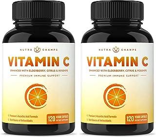 (2 Pack) Vitamin C 1000mg with Elderberry, Citrus Bioflavonoids & Rose Hips - 120 Capsules Vegan, Non-GMO Antioxidant Supp...