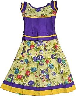 Pattu Pavadai Beautiful Floral Cotton Pavadai Set Violet for Baby Girl and Kids