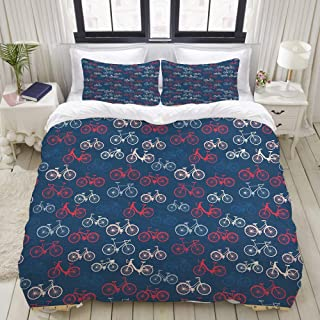 CANCAKA Duvet Cover Set, City Race and Girls Bike Sketches in Retro on Blue Background, Custom 3 Pc Lightweight Bedding Set, Queen/Full Size