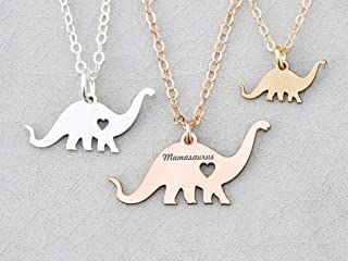 Dinosaur Necklace - IBD - Brontosaurus Brachiosaurus Plant Eater - Personalize Name Date - 935 Sterling Silver 14K Rose Gold Filled -Fast 1 Day Production
