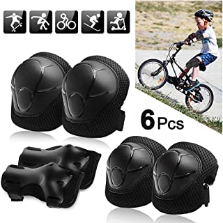 ALLYAOFA 6 in 1 Kids Elbow and Knee Pads Set, Wrist Guards Protective Gear Set for Kids Inline Roller Skating Cycling Bike...