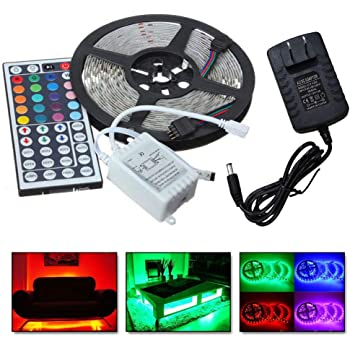 WarmBay 5M 5050 USB LED Strip Light 300 SMD Non Waterproof Color Changing Lamp with 44 Key Remote Controller, US Fast Shippment 12V 5A Power Supply Light Strip for Home Bedroom Bar Decors