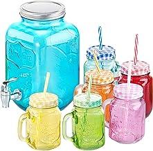 PEARL Wasserspender: 7-teiliges Servier-Set mit Getränkespender, 6 Gläser, Einmachglas-Look (Trinkgläser)