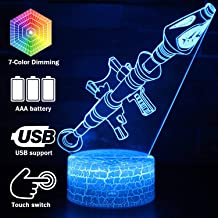 Rocket Launcher LED Night Lamps Fort-nited Battle Royals 3D Mood Light 7 Color Changing Bedroom Home Decor Luminaries Kids Gifts(Crack Rokter Launcher)
