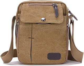 NOTAGFashion Multifunctional Crossbody Bag for Men, Vintage Canvas Crossbody Bag with Adjustable Strap for Outdoor Sport, Anti-Theft Casual Shoulder Bag(Khaki)