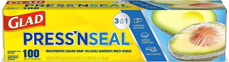 Glad Press'n Seal Plastic Food Wrap – 100 Square Foot Roll – 3 Pack