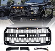 Xprite Raptor Style Grill Front Grille for 2015-2017 Ford F-150 with Three Amber Running Lights and Removable Letters - F&R