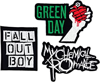 Set_ROCK007 - My Chemical Romance Patches, Fall Out Boy Patches and Green Day Patches, 3 Pcs Heavy Metal Patches, Applique Embroidered Patches - Rock Band Iron on Patches
