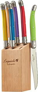 Laguiole By FlyingColors Steak Knife Set, Micro Serrated Blade, Stainless Steel, Wood Block, MultiColor Handle, 6 Pieces