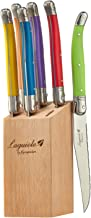 FlyingColors Laguiole Steak Knife Set, Micro Serrated Blade, Stainless Steel, Wood Block, Multicolor Handle, 6 Pieces