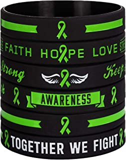 Green Awareness Ribbon Silicone Bracelets with Saying - Mental Health Awareness Bracelet - Green Cancer & Cause Ribbon Wristbands Gifts for Men Women, Patients, Family Friends