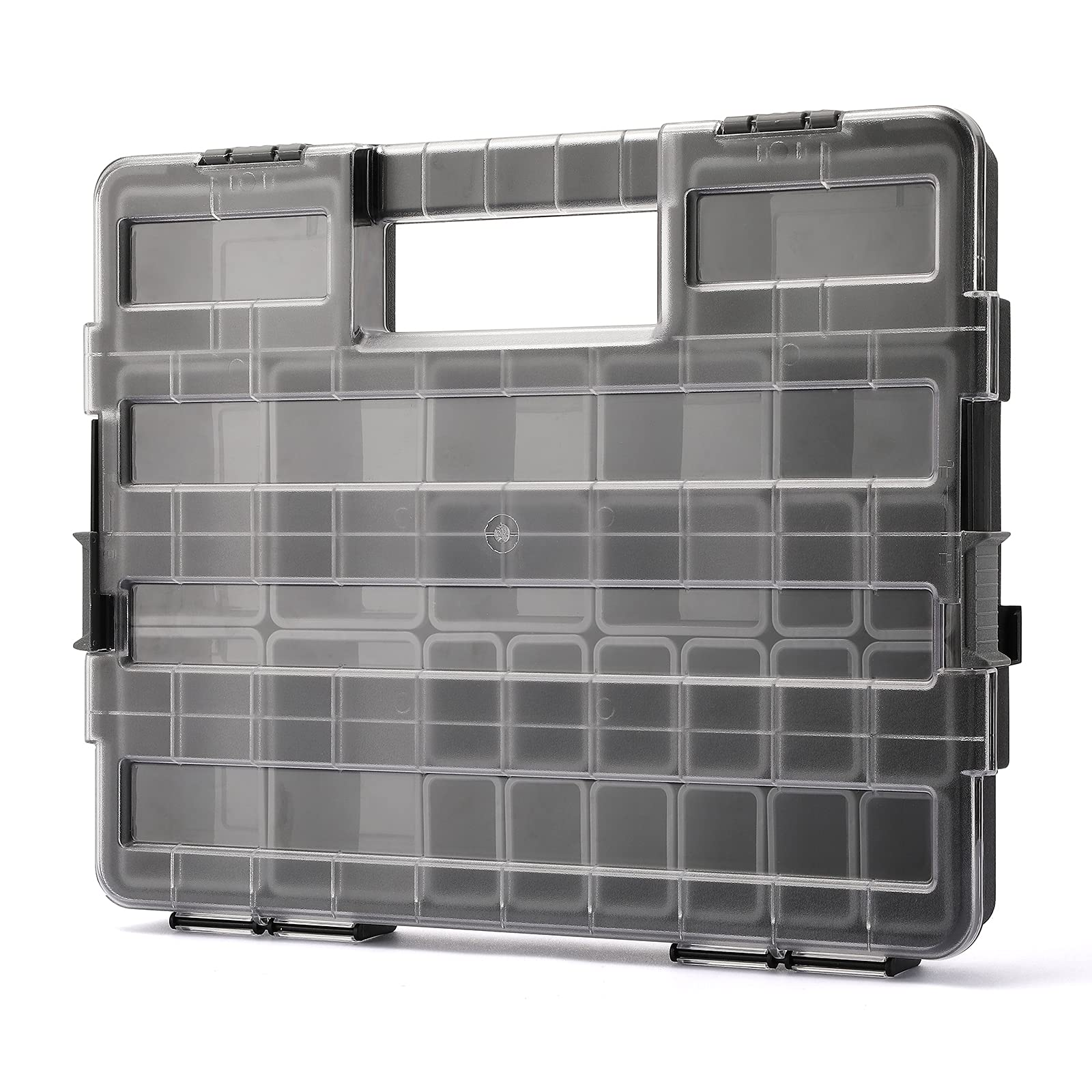 MIXPOWER 16-Inch Portable Storage Tool Organizer with Double Secure Locks and 25 Removable Bin Compartments, Multi-Purpose Hardware Tool Box Storage, Black/Clear