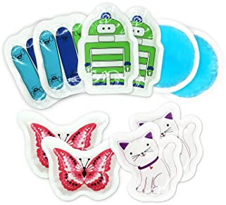 Kids Ice Pack(10-Pack) for Boo Boos Injuries by WORLD-BIO, Reusable Children's Fun Cartoon Pack Pain Relieve for Teet...
