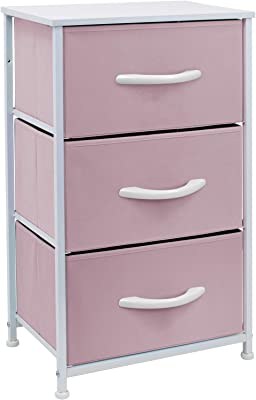 Sorbus Nightstand with 3 Drawers - Bedside Furniture & Accent End Table Chest for Home, Bedroom Accessories, Office, College Dorm, Steel Frame, Wood Top, Pastel Fabric Bins (Pink)
