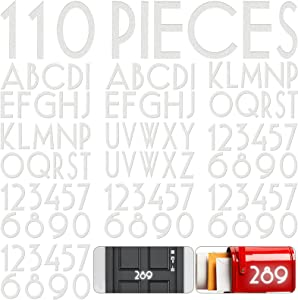 110 Pieces Vinyl Reflective Mailbox Number Sticker Adhesive Capital Letter Sticker Waterproof Street House Address Number Decal for Residence Apartment Office Room Door Window Car (White, 2 Inch)