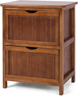 Giantex Nightstand Wood W/2 Drawers Sofa Bed Beside Table File Cabinet Contemporary Vintage Bedroom Living Room Cabinet End Table 16.0''X11.5''X20.5''(L x W x H) (1)