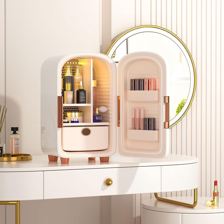 InLoveArts Make Up Cosmetic Refrigerador,12L Beauty Refrigerador Silencioso con 5 Compartimentos de Almacenamiento Grandes,Hermoso Refrigerador Personal Portátil para Cuidado de la piel y Cosméticos