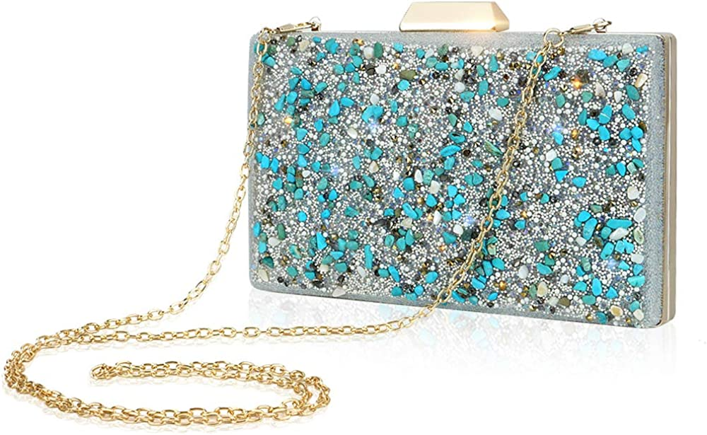 Blue Evening Bags For Women Stone And Beads Decoration Wedding Clutch